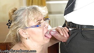 Frisky BBW GILF Cleans His Office and His Cock