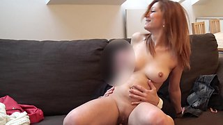 The young mother is working hard on her first porn casting