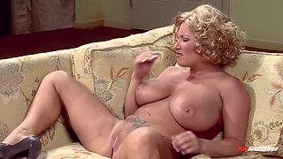 Juggy blonde Brooke Banner takes cumshots on her big boobs after a steamy sex