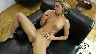 Doll with slender body loves playing with fake and real dicks