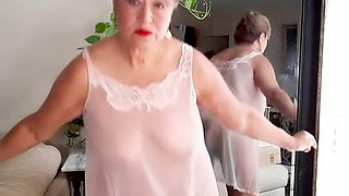 Mature bbw woman with hairy pussy wearing  sheer nightgown