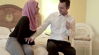 Daughter In Hijab Rides Daddy S Rock White Cock- Ella Knox