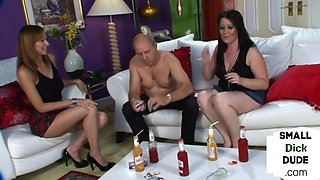 British chicks humiliating small dick after playing cards