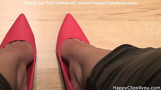 Red high heels dipping