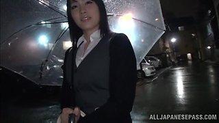 Blindfolded Japanese cutie Satomi Nomiya gets pleasured in the van