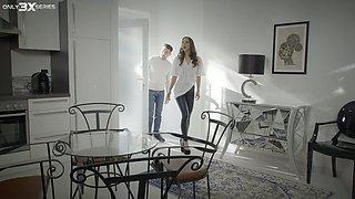 Slutty wife Zazie Skymm is cheating on her husband with brutal handyman