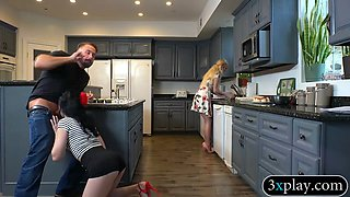 Luscious woman gets banged by hard dick in the kitchen