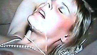 Captivating wife tasting biggest load of bulls cum