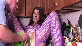 tabby tender gets her big pussy ruined with huge dildos