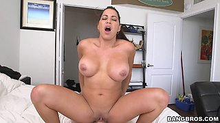 Big tits Latina maid will live to tell the mystery of a big cock driven roughly against her pussy