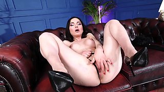 Lonely milf Nataly Gold comforts herself with a toy!