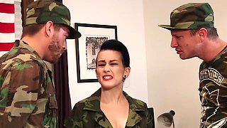 Two brutal soldiers fuck sassy chick in military uniform