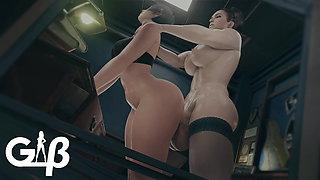 Excella Gionne Fucks Ada Wong In Her Office
