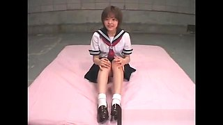 Horny asian cutie showing panties
