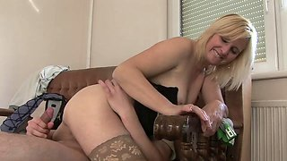 Drunk mature woman fucks with a young guy