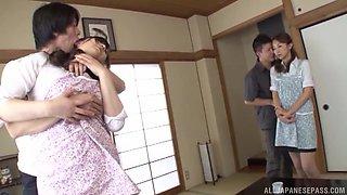 Hot ass Japanese girlfriends enjoy having a swingers foursome
