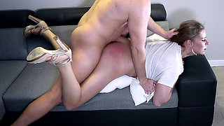 Enticing amateur blonde gets fucked rough and spanked hard