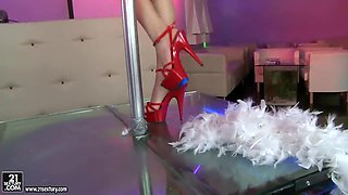 Leggy Blue Angel in high heels is stripping