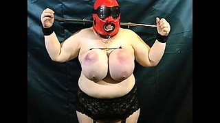 Chunky amateur fetishist gets tied up and spanked