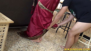 18 year old boy stripped step Mom's sari and fucked her hard