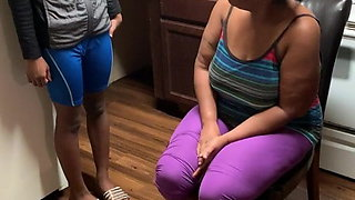 Girl gets spanked over the knee for wearing wrong clothes.