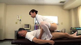 Sensual Japanese nurse in stockings has a passion for cock