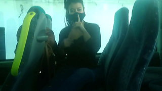 RISKY BLOWJOB ON THE BUS AND FLASHING TITS