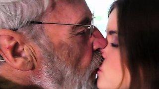 Grandpa punish teeny with ass slap big dong shoving