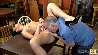 Daddy4k. Excited old man invades Stepsons girlfriend with tough manhood