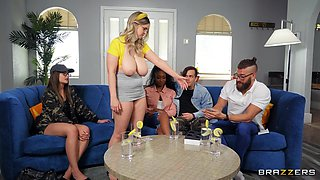 MILF with huge knockers, insane titjob and real home porn