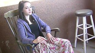 Sexy Teen Amateur Emily Grey Takes A Smoke Break Before Riding Her Fuck Machine