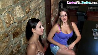 Strapon dommes fuck sissy subject in the bar