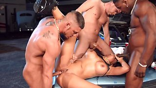 MILF's husband wasn't there to stop all these men banging her