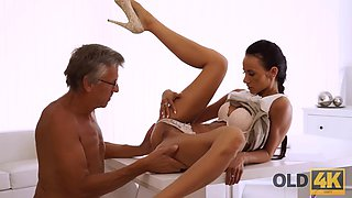 OLD4K. Tanned secretary and experienced boss have sex instead of work