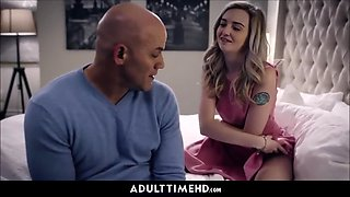 Teen step daughter gets little pussy jizzed on by step dad for her birthday