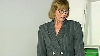 Mature German lady feels horny with a bunch of young men