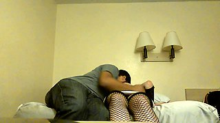 Curvaceous amateur lady in fishnet stockings gets gangbanged