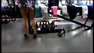 Jesika  upskirt in coffee and shoe store