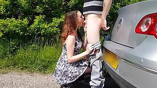 Amateur Fuck, Deepthroat Girl on the Hood of a Volkswagen