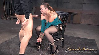 Rough mouth fucking by a black and a white dude for Bella Rossi