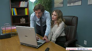 Nasty office chick Anya Olsen seduces one cocky dude and gets her muff rammed right on the table