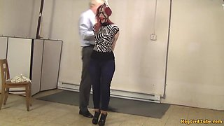 Ballgagged And Full Of Bondage With Ankle Boots On