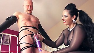 mistress finally lets her slave cum