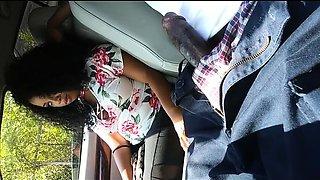 Mesmerizing caramel girl sucks a big black cock in the car