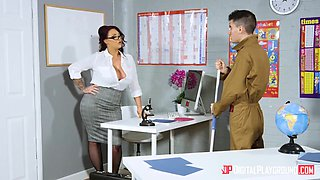 Harmony Reigns In Stockinged Teacher With Large Natural Tits Fucks A Student In Detention