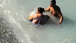Beach voyeur films a curvy mature wife getting fucked hard