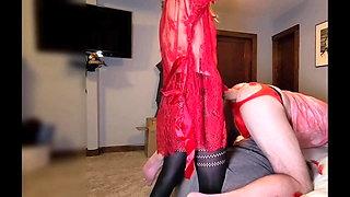 Valentine's play, Miss A using the M hankey's XXXcaliber toy