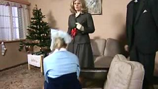 Czech little minx got whipped for Christmas