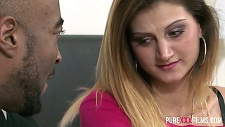 Ardent Romanian nympho Eva Johnson gets nailed doggy by black stud