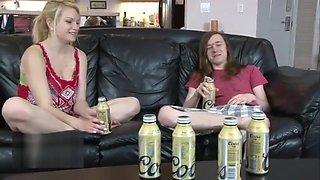 Brother gets stepsister drunk
